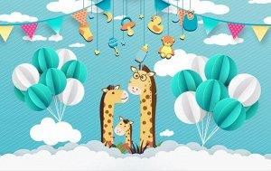 3D Фотообои «Жирафье семейство»
