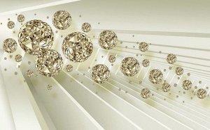 3D Фотообои  «Золотистая абстракция со сферами»