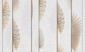 3D Фотообои «Панно с тропическими листьями на белом холсте»