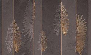 3D Фотообои «Панно с тропическими листьями в бронзовом оттенке»