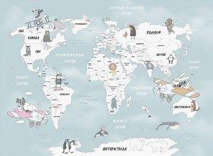 Фотообои Весёлая карта мира
