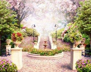 3D Фотообои «Фонтан в цветущем парке»