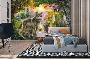 3D Фотообои «Волки в лесу»