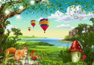 3D Фотообои «Воздушные шары в долине»