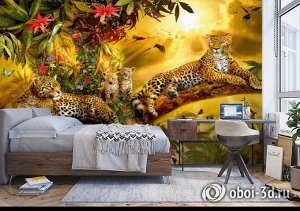 3D Фотообои «Семья леопардов»