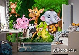 3D Фотообои «Рисунок в детскую. Джунгли зовут»