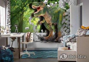 3D Фотообои «Динозавр ломает преграды»