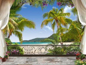 3D Фотообои «Пальмы на берегу океана»