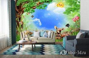 3D Фотообои «Бэмби на лужайке»