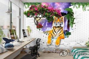 3D Фотообои  «Тигр у водопада»