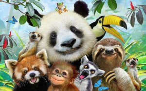 3D Фотообои «Улыбающиеся тропические звери»