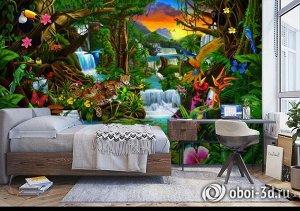 3D Фотообои «Тропический цветочный лес»