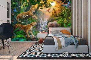 3D Фотообои «Тропический лес и его жители»