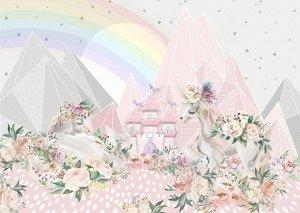 Фотообои Единороги в цветущих горах