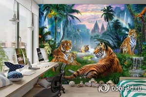 3D Фотообои «Тигры у водопадов»