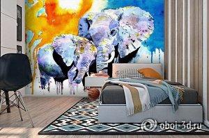 3D Фотообои «Слоны. Акварель»