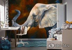 3D Фотообои «Слон. Рисунок»