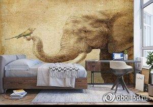 3D Фотообои «Слон и птичка»