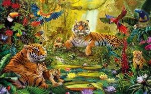 3D Фотообои «Сказочные тигры»