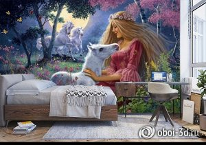 3D Фотообои «Принцесса с жеребенком»