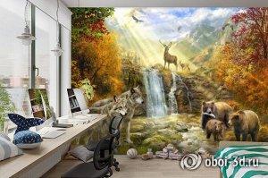 3D Фотообои «Обитатели леса»
