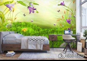 3D Фотообои «Лягушата ловят бабочек»