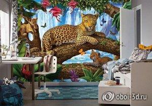 3D Фотообои «Леопарды на дереве»