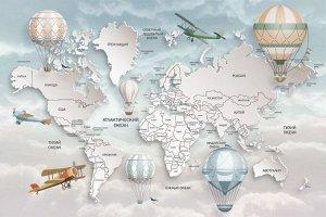 Фотообои Объемная детская карта