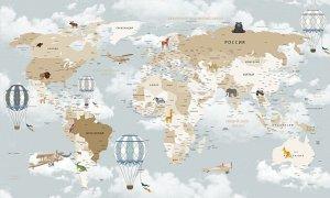 Фотообои Облачная карта для детской