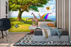 3D Фотообои «Жирафы на лужайке»