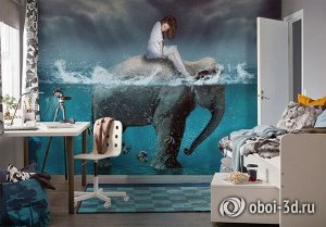 3D Фотообои «Девушка на слоне»