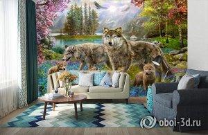 3D Фотообои «Волки в весеннем лесу»