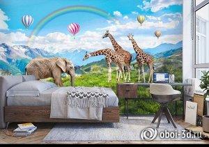 3D Фотообои «Воздушные шары над горной лужайкой»