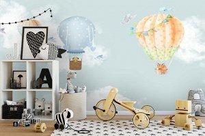 3D Фотообои «Облачная даль с акварельными шарами»