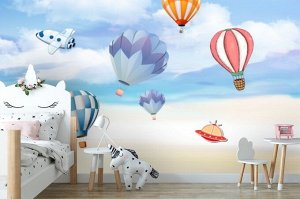 3D Фотообои «Небесная фантазия с воздушными шарами»