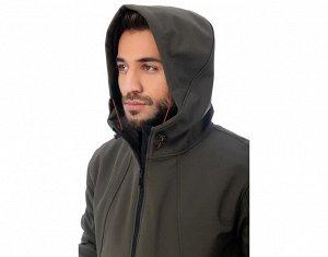 Куртка Хаки. Материал: SOFTSHELL (Софтшелл) SOFTSHELL (Софтшелл): ПОЛИАМИД 96% ЭЛАСТАН 4% Куртка из утепленной плащевки на молнии с капюшоном, на полочке и рукаве карманы на молнии, по низу рукавов па