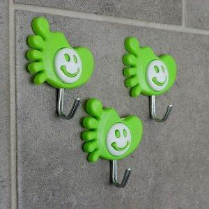 Набор крючков на липучке «Ножка-смайлик», 3 шт, цвет МИКС