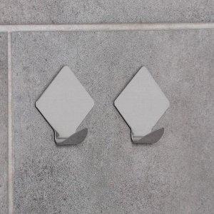 Набор крючков на липучке Доляна «Ромб», 2 шт, металлические