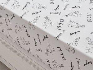 Трикотажная простынь на резинке 80х200х25 шрифты