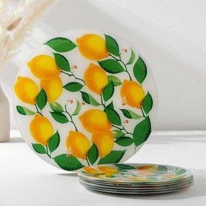 Набор столовый Vellarti «Лимоны», 7 предметов: 30 см - 1 шт, 21,5 см - 6 шт, в подарочной упаковке
