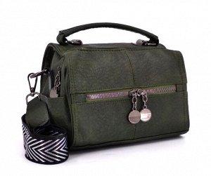 Сумка Стильная сумочка кроссбоди из экокожи. Одно отделение, внутри карман на молнии и карман для мелочей. Снаружи карман на молнии, открытые кармашки по бокам. В комплекте съемный текстильный ремень