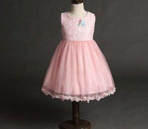 Платье для девочки кружевное, декор большой бант сзади, цвет розовый