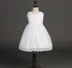 Платье для девочки кружевное, декор большой бант сзади, цвет белый