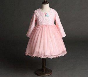 Платье для девочки кружевное с длинным рукавом, декор большой бант сзади, цвет розовый