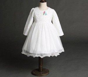 Платье для девочки кружевное с длинным рукавом, декор большой бант сзади, цвет белый