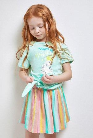 Футболка(Фуфайка) детская для девочек Idra светло-бирюзовый