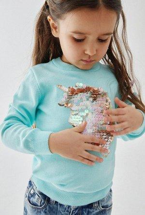 Джемпер детский для девочек Franca светло-бирюзовый
