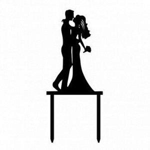 """Топпер силуэт """"Свадебный поцелуй"""" черный 9*14 см"""