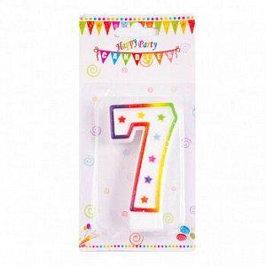 """Свеча для торта """"Цифра 7"""", цветная со звездами 7 см"""