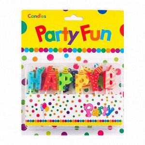 """Свечи для торта """"Happy Birthday"""", буквы разноцветные 3 см"""